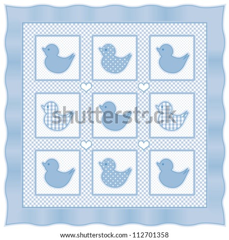 vector - Baby Ducks Quilt.  Vintage nursery design pattern in pastel blue and white check gingham, polka dots, satin ribbon frame border.  EPS8 compatible. - stock vector