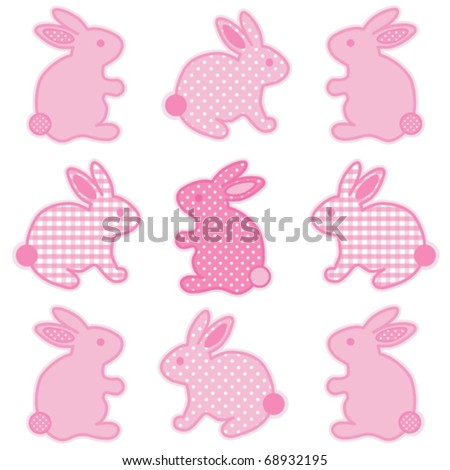 vector - Baby Easter Bunnies. Nine little bunny rabbits in pastel pink gingham check & polka dots for baby books, scrapbooks, albums, holidays. EPS8 organized in groups for easy editing. - stock vector