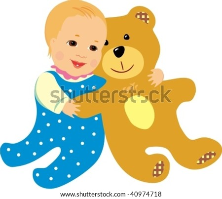 Vector baby embraces his bear-toy on white background