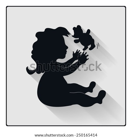 Vector baby girl playing with teddy bear, child black silhouette with shadow icon - stock vector