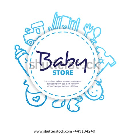 Vector baby icons circle composition. Newborn accessories design concept in doodle style.