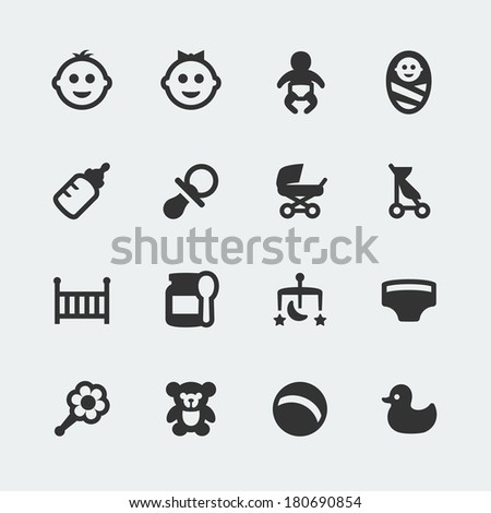 Vector baby mini icons set - stock vector