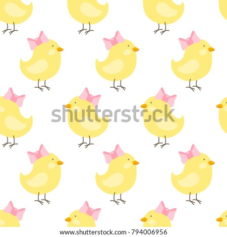 Vector Baby Seamless Pattern Chicken With Pink Bow For Wallpapers Fills Web