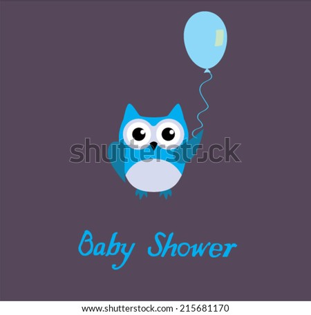vector baby shower card with a blue owl holding a balloon - stock vector