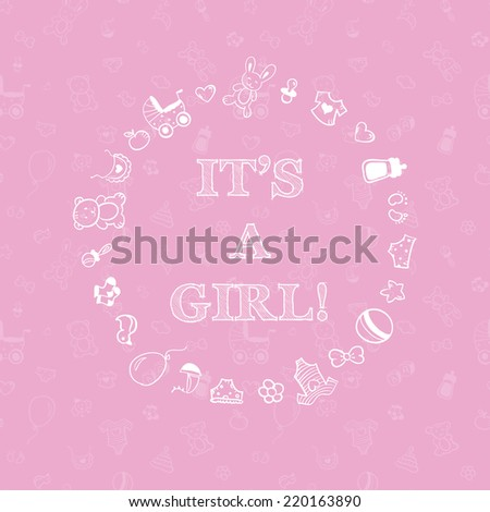 Vector baby shower design over pink background with seamless pattern. It's a girl - stock vector