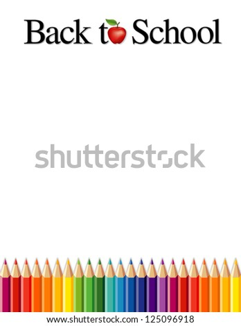 vector - Back to School background, colored pencils, apple for the teacher. Copy space for posters, announcements, stationery, education, daycare, preschool, scrapbook projects. Isolated on white. - stock vector