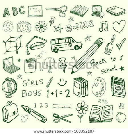 Vector back to school hand drawn doodles