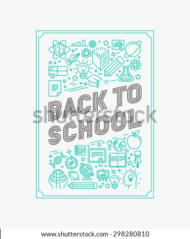 Vector back to school poster design in trendy linear style - mono line icons and letters - stock vector