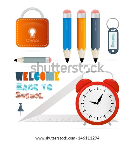 Vector Back to school theme - ruler, alarm clock pencils and other objects on white background - stock vector