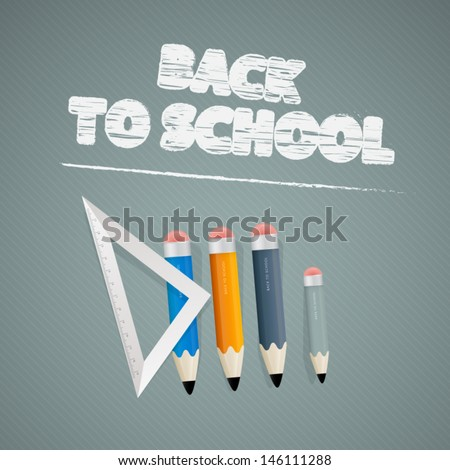 Vector Back to school theme - ruler and pencils on grey background - stock vector