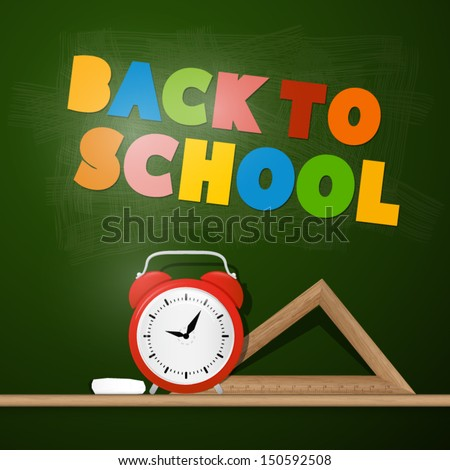 Vector Back to School Theme With Board, Ruler and Alarm Clock - stock vector