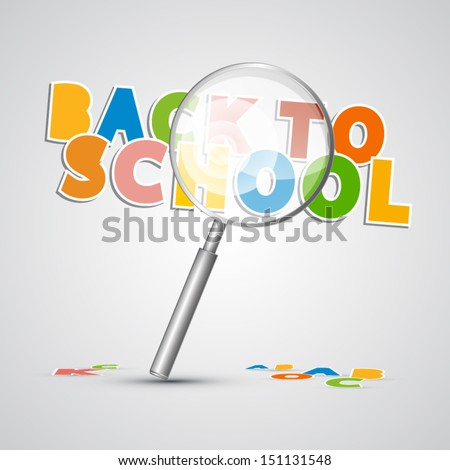 Vector Back to School Theme With Magnifying Glass - stock vector