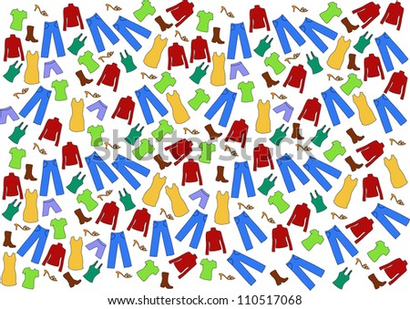 vector backdrop design with colorful pieces of clothes isolated on white background - stock vector