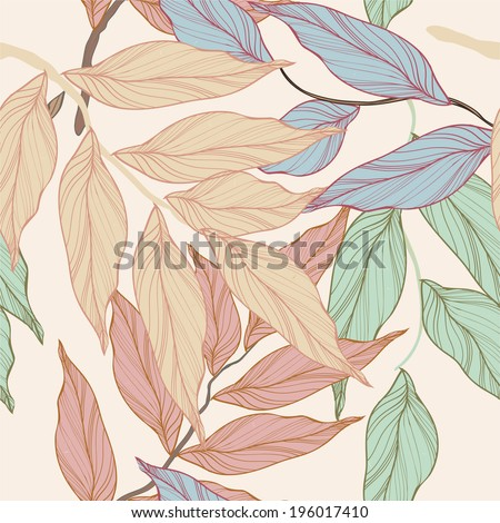 vector backgound with leaves - stock vector