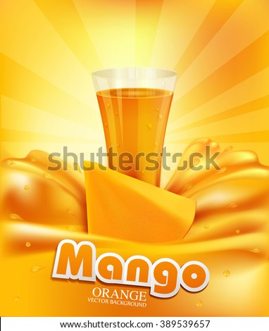 vector background a glass of juice, slices of mango