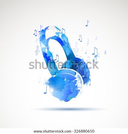 Vector background abstract watercolor headphone - stock vector