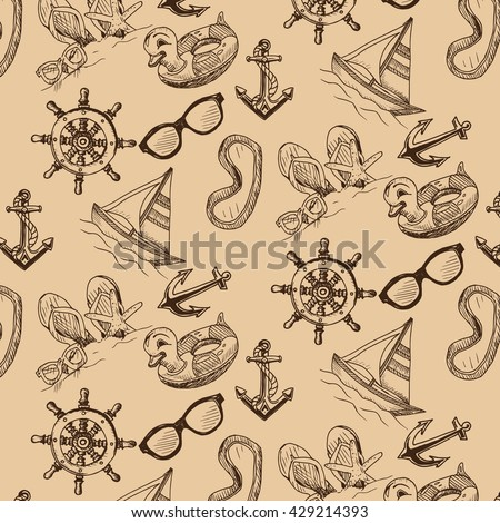 Vector background - anchor, helm, sunglasses, swim ring, mask, flip-flop, yacht, ship. Pattern sketch - summertime.