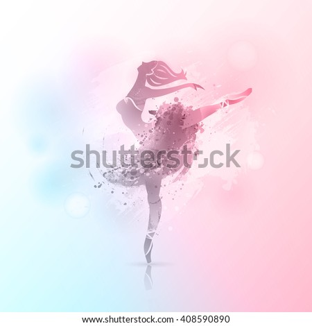 Vector background. Ballerina in dance. Perfect for ballet school or studio, dance studio, performance, banner, poster. Ballet dance pose on watercolor background.  - stock vector