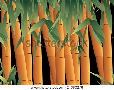 vector background, bamboo with its leaf - stock vector
