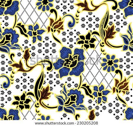 Vector background.Batik design pattern on colorful. - stock vector