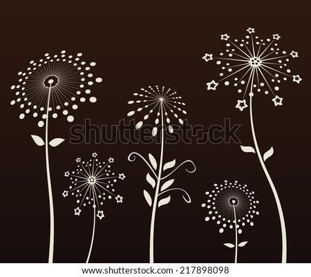 Vector background. Black flowers silhouette dandelion - stock vector