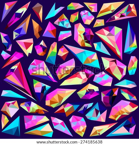 Vector background - brilliant set of beautiful gems - stock vector