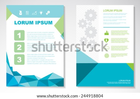 Vector background. Brochure design templates with colorful abstract geometric triangular backgrounds, size a4 - stock vector