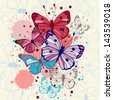 Vector background butterflies and flowers - stock vector