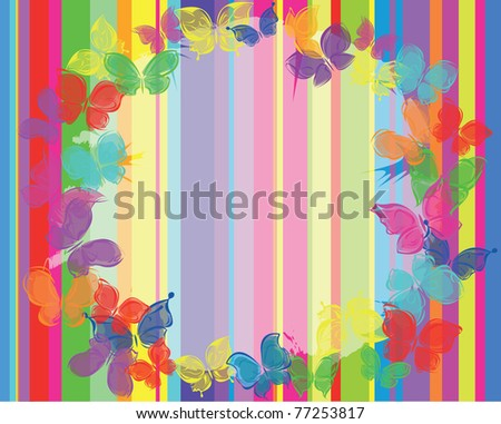 vector background butterfly on the stripes card - stock vector