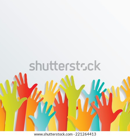 Vector background. colorful up hands
