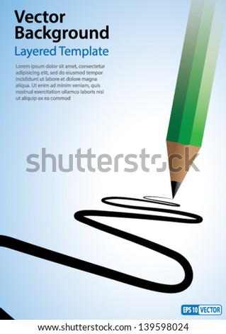 Vector Background Creative Concept - Pencil drawing a line. - stock vector