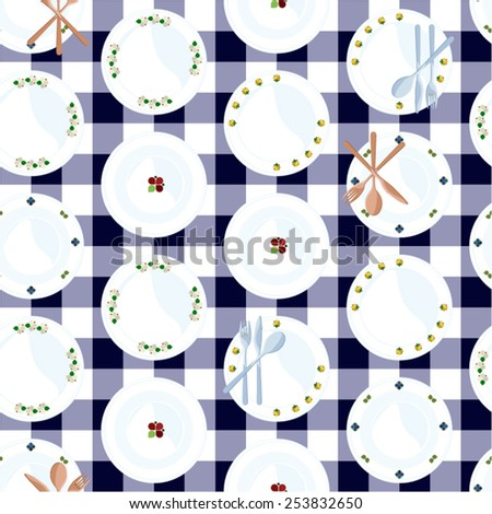 Vector background decorated with folk plates and cutlery - stock vector