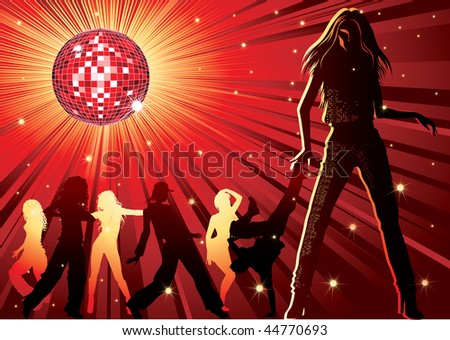 Vector background - design with dancing people, disco-ball and glitters - stock vector