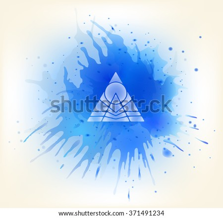 vector background, diamond, paint spots and mountain logo