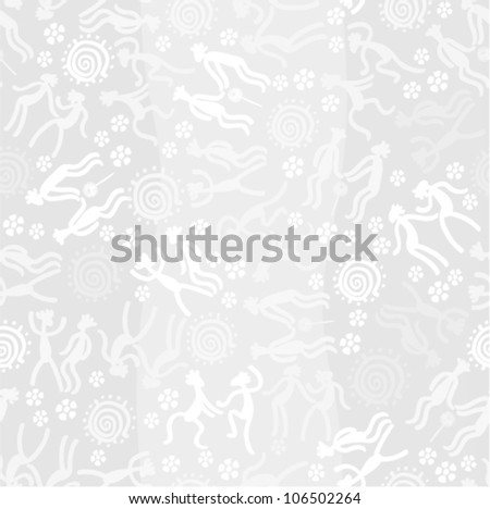 Vector background - fashion seamless Dancing people (style petroglyphs) - stock vector