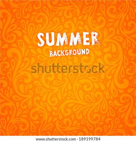 Vector Background. Floral Pattern, Wallpaper with Flowers. Vintage Background. Summer Orange Design - stock vector