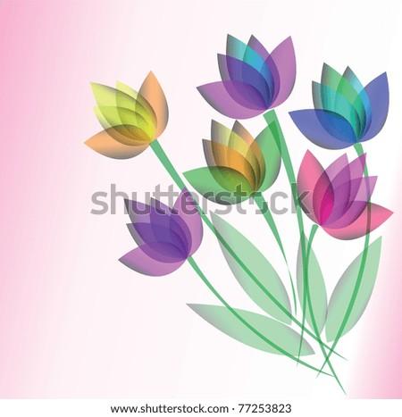 vector background flowers - stock vector