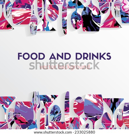 Vector background. Food and drinks - stock vector