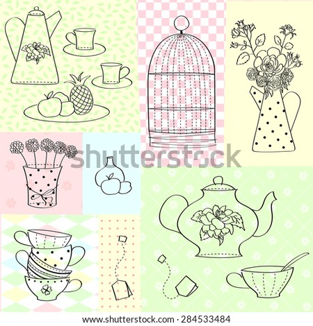 Vector background. Food. Dishes