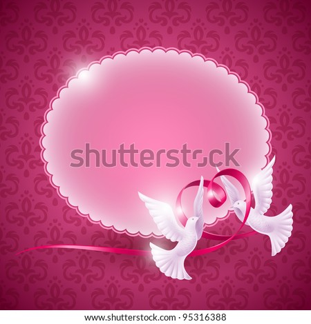 Vector background for design on the theme of love. Pigeons with a ribbon in the form of heart - stock vector
