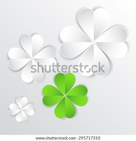 Vector background for different uses green cloverleaf - stock vector
