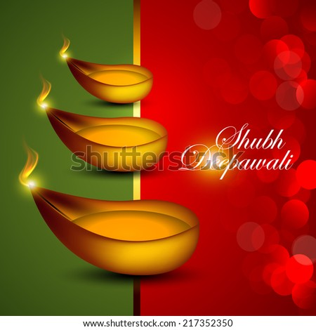 Vector background for Diwali festival with oil lamp. - stock vector