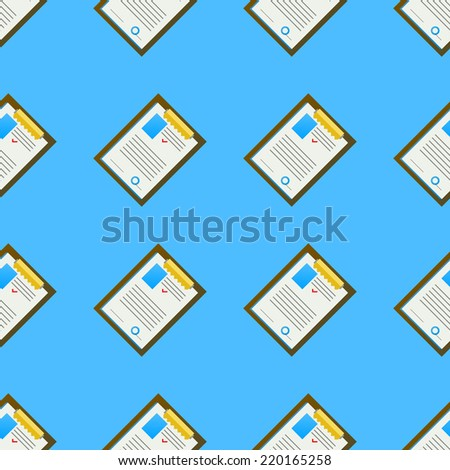 Vector background for office. Clipboard. Seamless vector pattern with colored clipboards with some document on blue background. - stock vector
