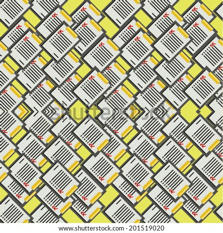Vector background for office. Vector pattern with clipboards with some lists on yellow background. - stock vector