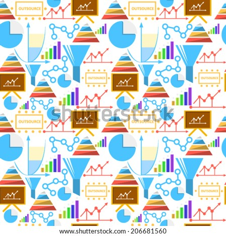 Vector background for outsource. Seamless vector pattern with colored outsource symbols on white background. - stock vector