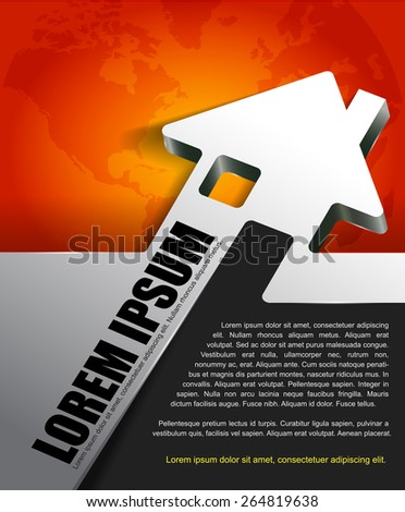 Vector background for real estate agency with abstract 3D house and continents. Can be used for a poster, brochure or flyer - stock vector