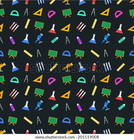Vector background for school. Seamless vector pattern with school supplies on black background. - stock vector