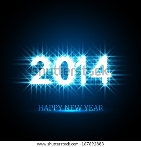 Vector Background for shiny Happy New Year 2014 text  blue colorful illustration