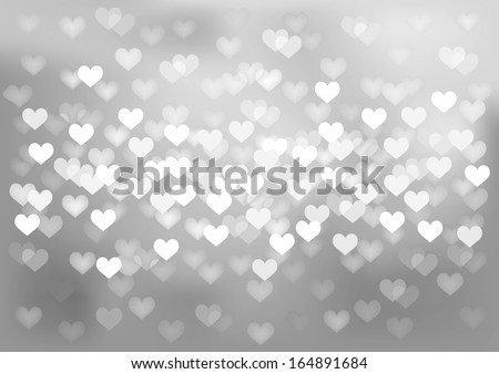 Vector background glittering silver lights in heart shape, no size limit. proportion of A4 format horizontal  - stock vector