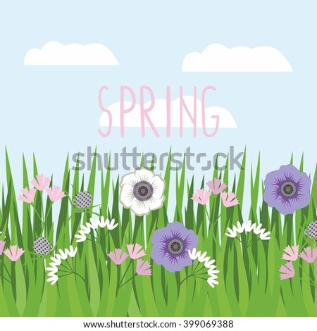 Vector background green grass with flowers against a background of sky and clouds - stock vector